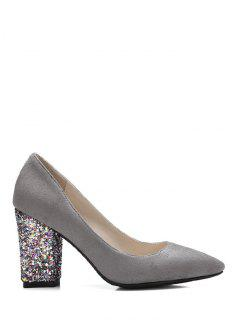 Glitter Sequined Pointed Toe Pumps - Gray 37