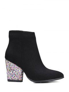 Zipper Glitter Chunky Heel Ankle Boots - Black 39