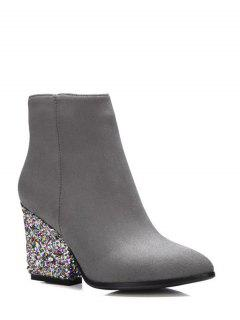 Zipper Glitter Chunky Heel Ankle Boots - Gray 38