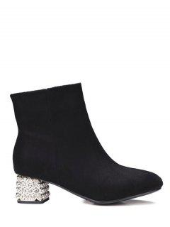 Square Toe Rhinestones Zipper Ankle Boots - Black 38