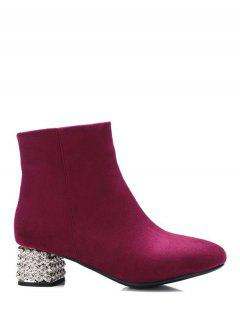 Square Toe Rhinestones Zipper Ankle Boots - Burgundy 37