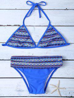 Bikini à Bretelles à Motif Tribal Sans Doublure - Bleu M