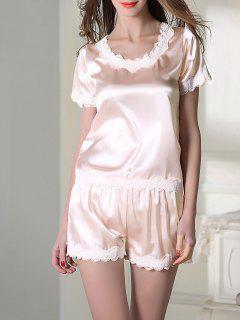 Ensemble Pyjama En Satin Haut Avec Col Rond Et Short - Rose Léger  M