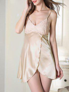 Lace Satin Slip Sleep Dress - Champagne 2xl