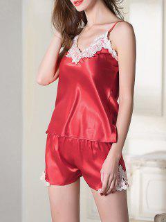 Une Paire De Pyjamas Avec Dentelle Coupée  ,camisole Et Culotte - Rouge M