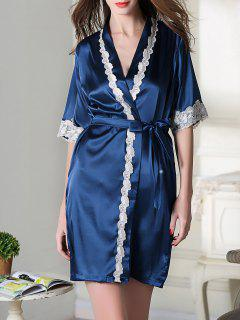 Belted Satin Sleep Kimono Robe - Royal Blue M