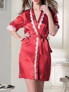 Robe Courte En Satin Avec  Ceinture - Rouge M