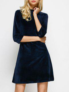 Velour Stand Neck Fit And Flare Dress - Purplish Blue S