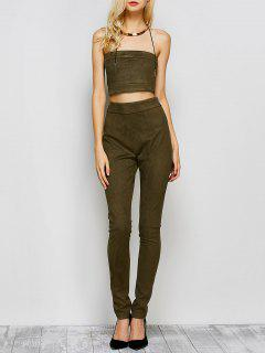 High Rise Suede Pants With Tube Top - Army Green S