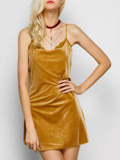 Velour Lace Panel Mini Dress - Yellow M