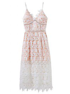 Lace Hollow Out Slip Dress - White S