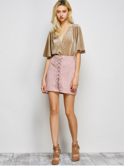 hot Lace-Up Bodycon Skirt - PINK S Mobile