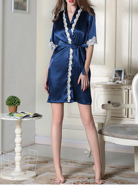 best Belted Satin Sleep Kimono Robe - ROYAL BLUE M Mobile
