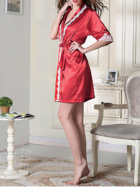 outfit Belted Satin Sleep Kimono Robe - RED M Mobile
