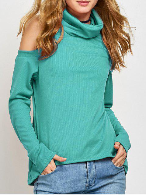 Pullover mit Rollkragen und Kalter Schulter - Grün S Mobile