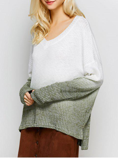 fancy Ombre High-Low Knitwear - WHITE M Mobile