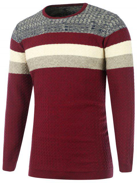 shop Color Matching Wavy Stripes Knitted Sweater - BURGUNDY 2XL Mobile