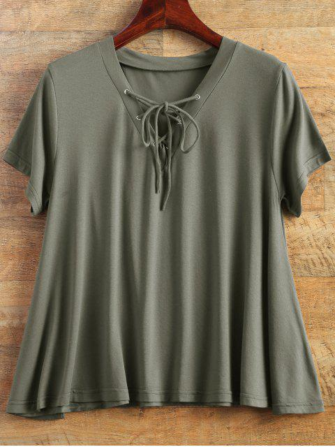 chic Flowy Lace Up Swing Tee - ARMY GREEN S Mobile