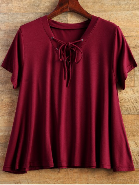 buy Flowy Lace Up Swing Tee - BURGUNDY M Mobile