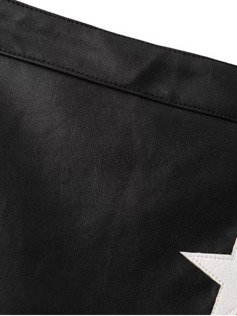 trendy PU Leather Star A-Line Skirt - BLACK M Mobile