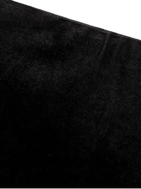 fancy Flounced Velvet Mini Skirt - BLACK M Mobile