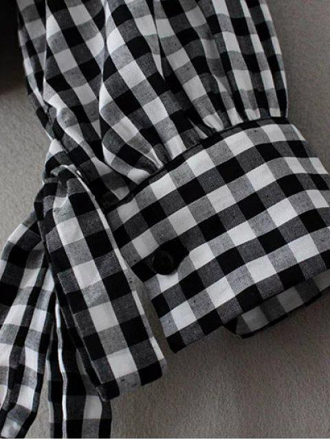 best Buttoned Checked Blouse - BLACK M Mobile