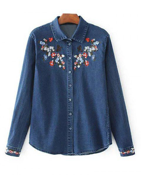 hot Stretchy Floral Embroidered Jean Shirt - BLUE M Mobile