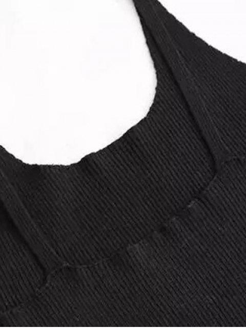Cami Slit Sweater Dress - Noir M Mobile
