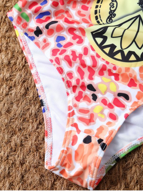 hot Halter Printed Cut Out Swimwear - COLORMIX L Mobile