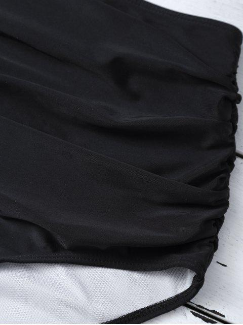 affordable High Waist Striped Bikini Set - BLACK M Mobile