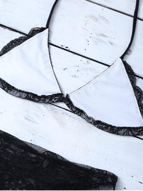 fancy Lace High Waisted Bikini Set - BLACK L Mobile