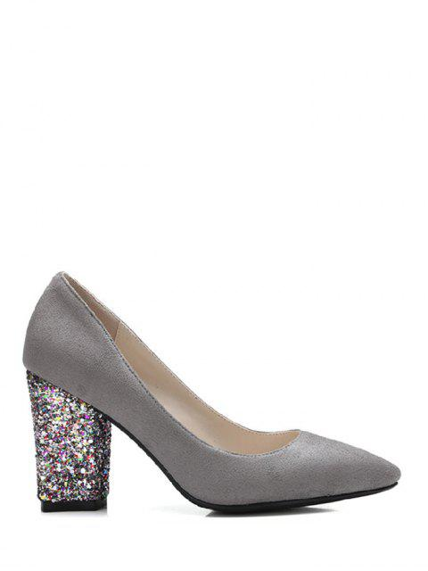 lady Glitter Sequined Pointed Toe Pumps - GRAY 37 Mobile