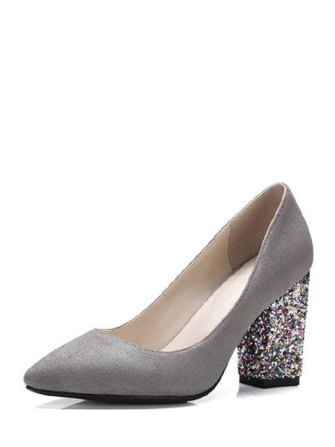 ladies Glitter Sequined Pointed Toe Pumps - GRAY 39 Mobile