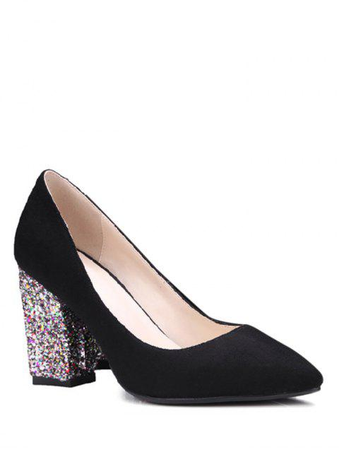 online Glitter Sequined Pointed Toe Pumps - BLACK 39 Mobile