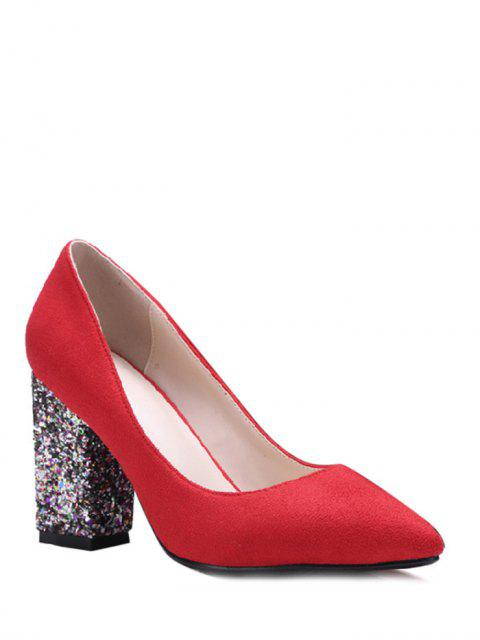 outfit Glitter Sequined Pointed Toe Pumps - RED 39 Mobile