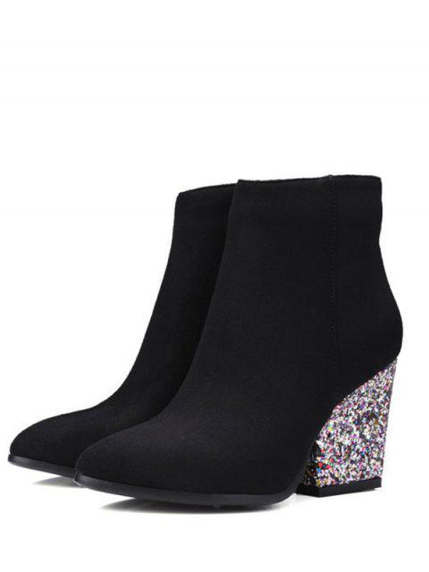 trendy Zipper Glitter Chunky Heel Ankle Boots - BLACK 38 Mobile