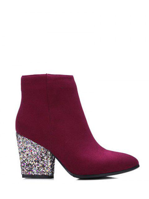 fashion Zipper Glitter Chunky Heel Ankle Boots - BURGUNDY 39 Mobile