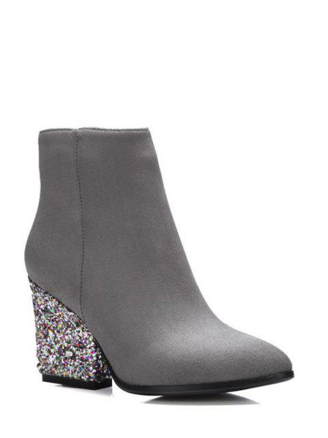 unique Zipper Glitter Chunky Heel Ankle Boots - GRAY 39 Mobile