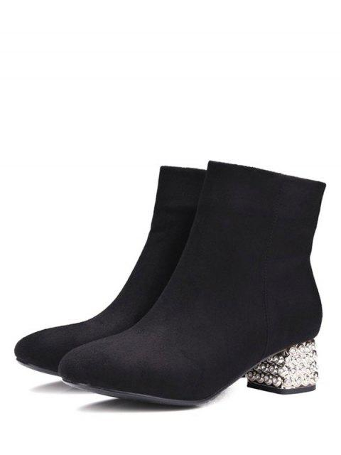 womens Square Toe Rhinestones Zipper Ankle Boots - BLACK 37 Mobile