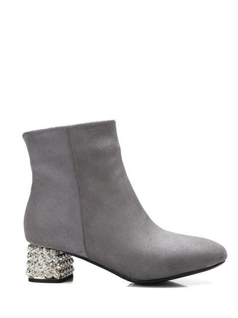 ladies Square Toe Rhinestones Zipper Ankle Boots - GRAY 37 Mobile