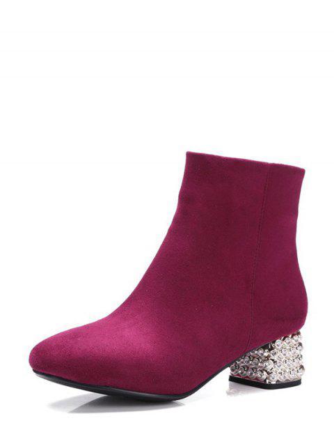 best Square Toe Rhinestones Zipper Ankle Boots - BURGUNDY 39 Mobile