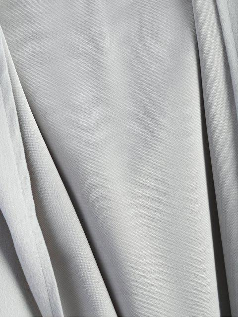 women's Cotton Open Front Coat - LIGHT GRAY S Mobile