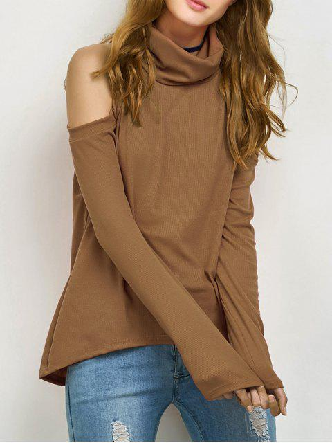 fashion Cold Shoulder Turtle Neck Knitwear - KHAKI S Mobile