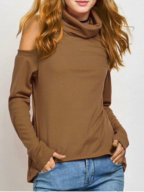 fashion Cold Shoulder Turtle Neck Knitwear - KHAKI S Mobile