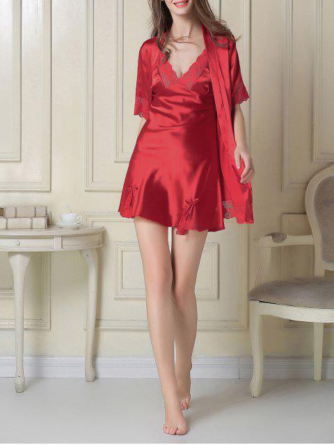 best Silky Slip Dress and Robe - RED M Mobile