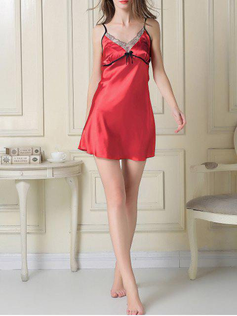 trendy Satin Slip Dress and Sleep Robe - RED 2XL Mobile