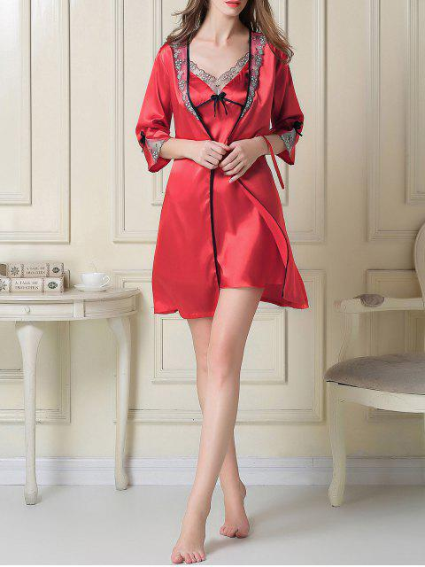 fancy Satin Slip Dress and Sleep Robe - RED M Mobile