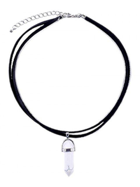 women PU Leather Rope Faux Gem Pendant Necklace -   Mobile