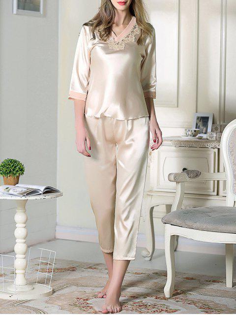 outfits Satin Tee and Capri Pants Pajama - CHAMPAGNE L Mobile