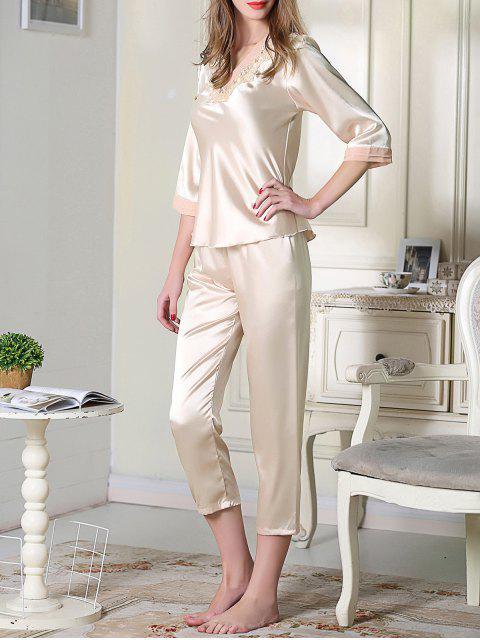 hot Satin Tee and Capri Pants Pajama - CHAMPAGNE 2XL Mobile